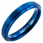 New Mens Tungsten Ring 4mm wide Engraved I Love You in gift pouch