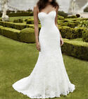 Stock Sexy Wedding dress Mermaid Lace White/ivory Sweetheart Bridal Ball Gown