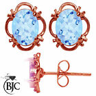 BJC® 9ct Rose Gold Natural Blue Topaz Single Stud Earrings Studs 1.50ct
