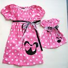 """Minnie Mouse 60's Inspired Dress Girls Plus 18"""" Doll Size 1T 2T 3T  Red Or Pink."""
