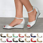 WOMENS LADIES LOW MID WEDGE HEEL WEDDING BRIDAL BRIDESMAID EVENING SANDALS SIZE