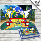 SONIC THE HEDGEHOG RECTANGLE BIRTHDAY CAKE TOPPER DECORATION PERSONALISED