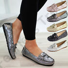New Womens Slip On Flat Metallic Loafers Comfort Casual Work Pumps Shoes Sizes