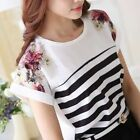 Women Casual Top 2018 High Fashion  Batwing Sleeves Spell Color Chiffon Top