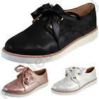 New Womens Casual Loafer Metallic Sneakers Lace Up Office Flatform Ladies Shoes