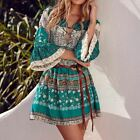 Woman Printed Mini Dress Ladies V Neck Lace Up 3/4 Sleeve Ruffled Beach