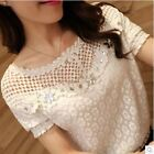 Woman Lace Blouse Tops Hollow Out Crochet Beading Shirt Blusas