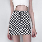 CHECKERED DENIM SKIRT MINI WOMENS SKATE FASHION PRINT GRUNGE TUMBLR 90S CHECK