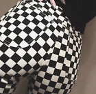 CHECKERED DENIM JEANS HIGH WAISTED WOMENS FASHION PRINT GRUNGE TUMBLR 90S CHECK