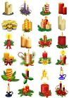 24 Mixed Candles Christmas Large Sticky White Paper Stickers Labels NEW
