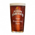 John Smith Personalised own message Pint Glass up to 30 Letters gift box option