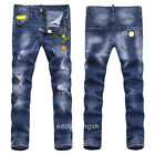 New Men's Italy Style Vintage Skull Embroidery Pants Blue JEANS Trousers PP1500T