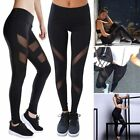 Womens Yoga Mesh Workout Gym Leggings Fitness Sports Pants Stretch Trouser