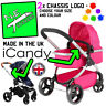 2x iCandy Replacement Chassi Logo Stickers coloured i Candy pram buggy peach