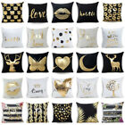 Bronzing Heart Love Plush Pillow Case Sofa Waist Cushion Cov
