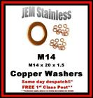 M14 Copper Washers M14 x 20 x 1.5 Pack size 6, 10 or 20