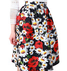Women's Girl's Floral Print Pleated Fit & Flare Midi Spring/Summer Casual Skirt.