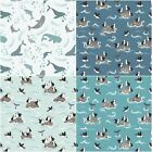 Spindrift Puffins, Whales, 100% Cotton Fabric by Lewis & Irene FQ