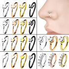 Nose Ring Open Hoop Lip Body Piercing clip on Studs Stainless Steel Jewelry New