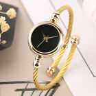 Luxury Golden Cable Wire Band Women's Dress Quartz Bangle Cuff Watch Small Dial image