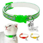 Embroidery Small Dog Cat Breakaway Collar&Tag Quick Release for Pet Puppy Kitten