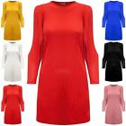 Womens Ladies Cut Out Long Sleeve Baggy Tunic Ribbed Twisted Shift Mini Dress