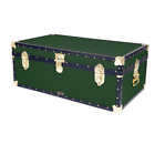 "GREEN British Mossman Made 36"" Steamer Boarding School Luggage Trunk 36""x20""x14"""