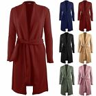 Womens Ladies Full Sleeves Open Front Blazers Belted Duster Coat Long Cardigan