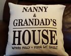 PERSONALISED PRINTED LARGE CUSHION COVER NANNY & GRANDAD'S HOUSE FREE P&P