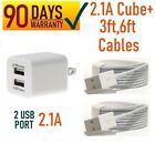 2.1A Double USB Wall Cube charger 2 lightning USB cable 3ft