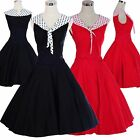 Vintage Dress 50's 60's Style Swing Retro Rockabilly Dress Tea Party Dresses Red