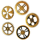 Industrial Wood Wooden Gear Home Bar Cafe Wall Hanging Decor Gold