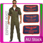 Mens Top Costume Retro Aviator Flight Pilot 80s Military Jumpsuit Gun Uniform