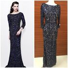 NWT PRIMAVERA COUTURE 1747 LONG SLEEVE SEQUINED MIDNIGHT BLUE MSRP 599 AUTENTIC