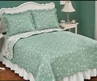 sage green bedding - 💗 ALL SIZES Reversible Sage Floral Quilt w/ Scalloped Edges Green Bedding