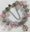 Silver Plated Flowers Charm Bracelet with Pink Charms/Murano bead-Gift Boxed