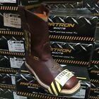 MEN'S STEEL TOE WORK BOOTS SAFETY PULL ON OIL RESISTANT GENUINE LEATHER WINE