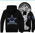 Winter Thicken Team Dallas Cowboys Warm Sweatshirt Lacer Zipper Jacket Hoodie