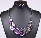 Vintage Retro Statement Necklace Earrings Jewelry Set Peacock Tail 4 Colors