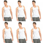 6 PK Mens White Tank Top 100% Cotton A-Shirt Wife Beater Ribbed Undershirt Pack