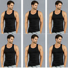 6 PK Mens Black Tank Top 100% Cotton A-Shirt Wife Beater Ribbed Undershirt Pack