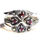 (SIZE 6) Set of 3 STACK RINGS: Garnet Hearts Marcasite .925 STERLING SILVER