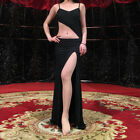 Black 2018 Sexy Backless Belly Dance Costumes Long Dress for Group M L
