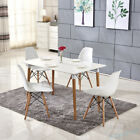 White Dining Table & 4 Chairs Set X Frame Rectangle Wood Legs Retro Design