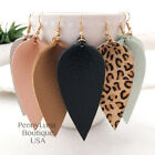 Leather Earrings Bohemian Leaf Drop Animal Print Black White Metalic - Genuine