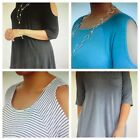 Terra & Sky Plus Size Cold Shoulder Top (8 Diff Colors) 1X ,2X,  3X NWT