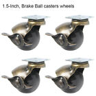 """Set of 4,1.5""""/2"""" Heavy Duty Swivel Ball Caster Wheels With 360 Degree Top Plate"""