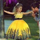 Yellow Ball Gown Kids Evening Gowns Special Design Appliqued Tulle Satin Cap Sle