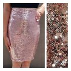 New Rose Gold Sequin Pencil Skirt S M L XL Made in USA Sexy Club Dress