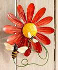Flower Garden Wall Spinners Metal Floral Wind Moving Yard Art Decor Spins Moves